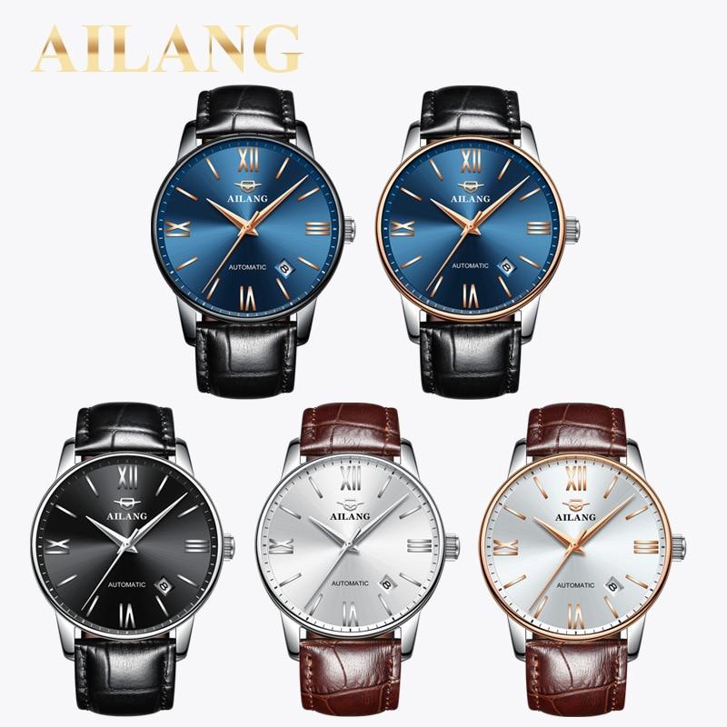 AILANG Back Business Mechanical Fashion Men's Wrist Watch Waterproof Calendar Sapphire Stainless Steel Strap Men Watches 2603 enlarge