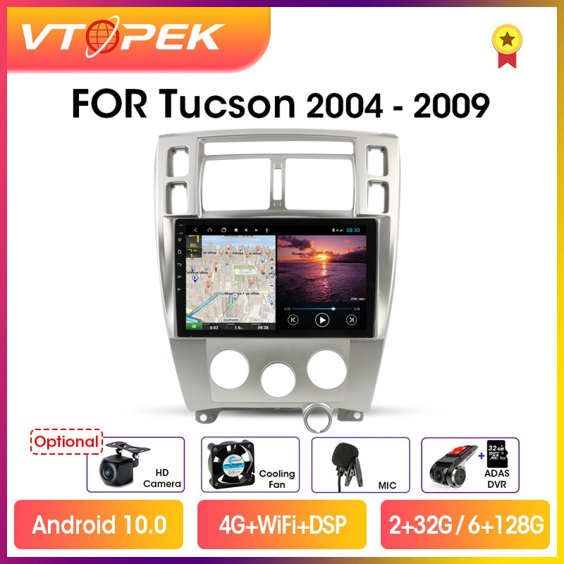 Автомагнитола Vtopek для Hyundai Tucson, мультимедийный видеоплеер на Android 10, экран 10,1 дюйма, 4G, GPS-навигация, 2004-2009 гг.