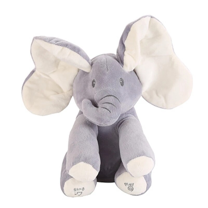Hide and Seek Elephant and Rabbit Electric Stuffed&Plush Preschool Toys With English Songs Ear Talk for Toddlers Gift(No Box)