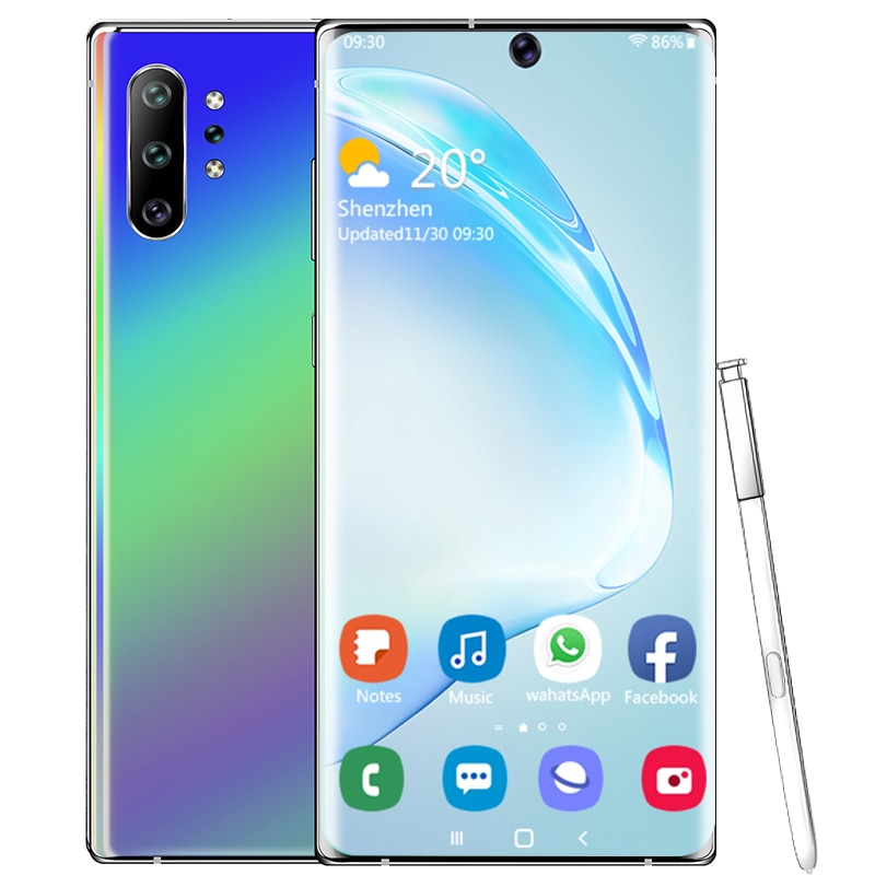 Smartphone Android 9.1 Note10 plus 2GB 16GB MTK6580 4core Cellphones 6.8