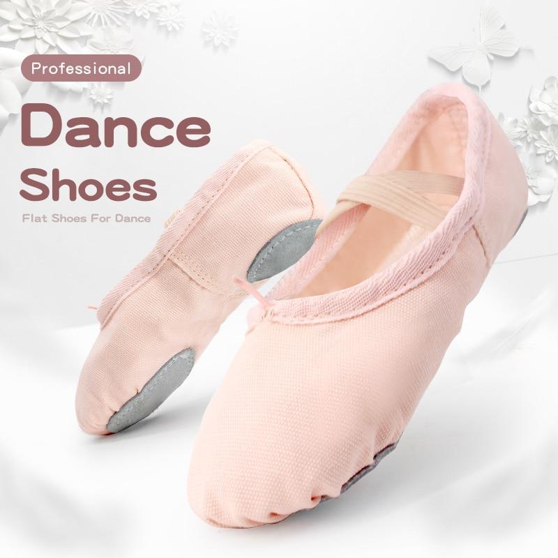 Танцевальная обувь для детей, балетки для девочек, балетки на плоской подошве, Детские парусиновые балетки, обувь для танцев