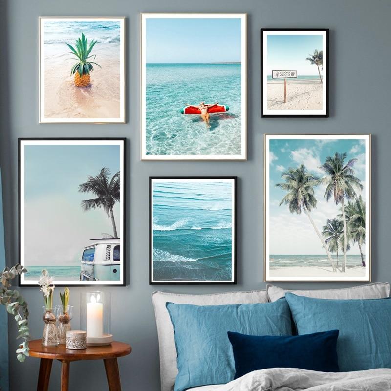Playa palmera piña océano Signpost pared arte lienzo pintura carteles nórdicos e imprime cuadros de pared para la decoración de la sala de estar