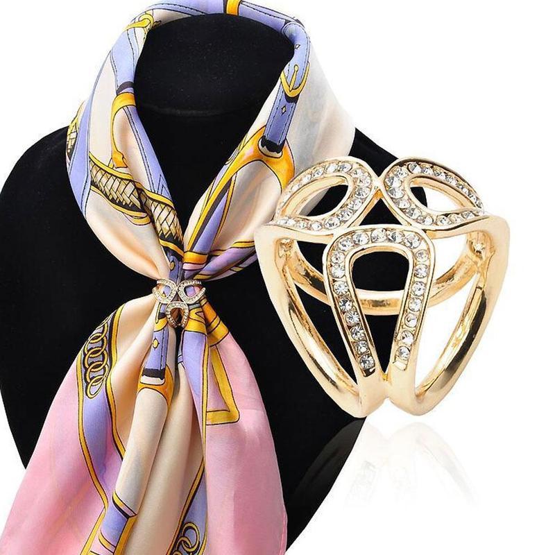 Korean Version Hot Sale Exquisite Three-ring Silk Scarf Ladies Shawl Buckle Accessories Ethnic Style Flower Stewardess Jewelry