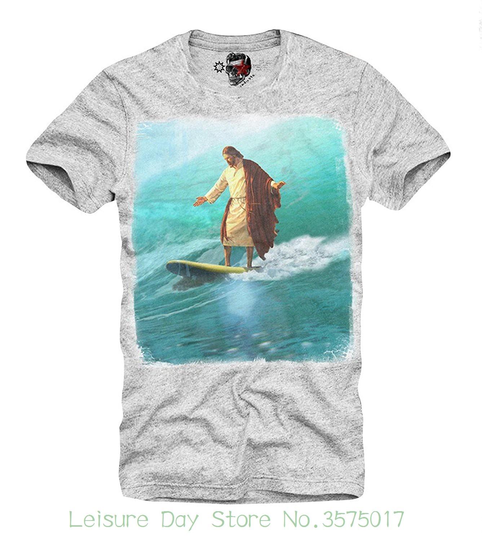Camiseta de dibujos animados de Hip Hop camiseta Jesús Christus servicios subregionales de recursos se surfista Waveriding cometa despierta Grey S / M / L / Xl