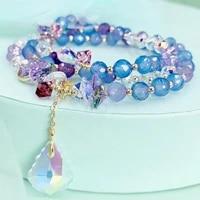 original brazilian agate multi layer bracelets for women girls austrian crystal baroque leaf pendant high end jewelry