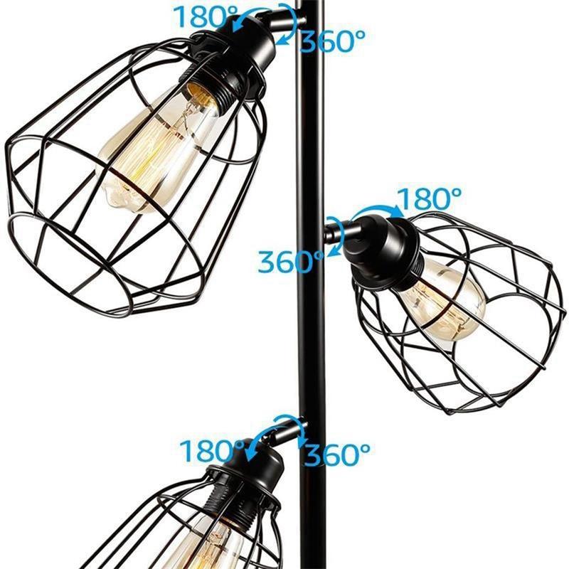 Industrial Floor Lamp,Adjustable Halter, Floor Lamp for Living Room, Bedroom, Office, Country Home(US Plug) enlarge