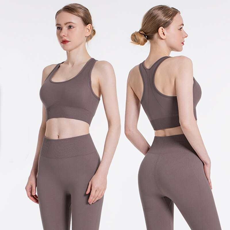 New2PCS/Set Seamless Fitness Women Yoga Suit High Stretchy Workout Sport Set Padded Sports Bra High Waist Sports Legging Gym enlarge