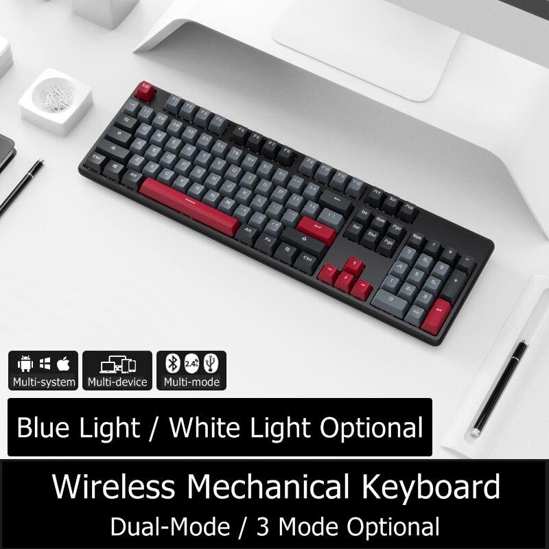 Novo 104 chave rk989 bluetooth sem fio/com fio duplo-modo de metal painel teclado mecânico para pc, notebook, tablet, telefone pbt keycaps