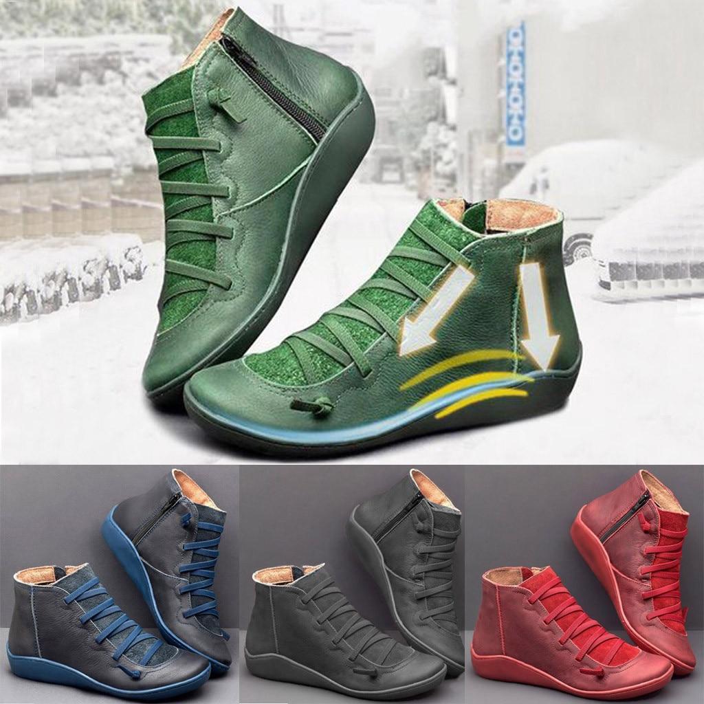 Botines De encaje Retro para Mujer, botas De invierno cálidas De talla grande para la nieve, botas De nieve De terciopelo con retazos, botas De Mujer
