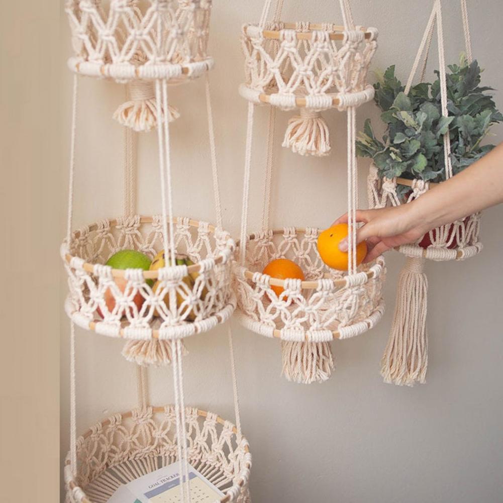 سلة فاكهة تنفس مساحة للتخزين القطن اناء للزهور سلة فاكهة معلقة لغرفة النوم