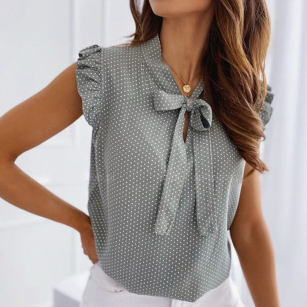 Women Blouses Butterfly Short Sleeves Shirt  Summer Bow Lace Up Polka Dot Female Tops Ruffle Pullover Vintage Blusa