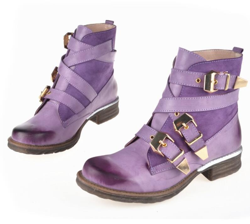 Britânico moda feminina roxo curto tornozelo botas de couro genuíno azul inverno gladiador botas botas mujer 35-43