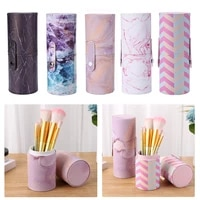 pu leather makeup storage holder cosmetic cup case box for makeup brush waterproof travel makeup brush holder organizer