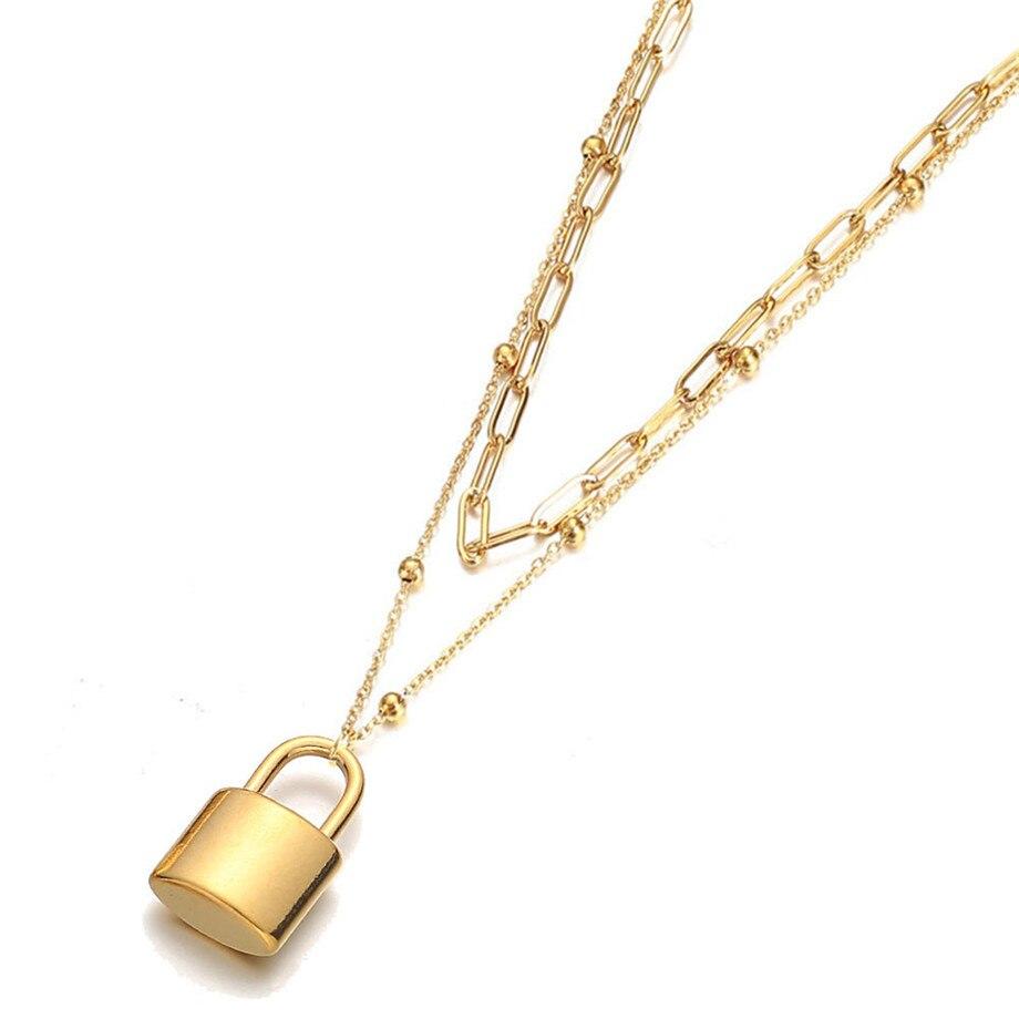 2020 de alta qualidade punk multicamadas correntes cor do ouro aço inoxidável cadeado pingente gargantilha colares para mulher colar jewlery