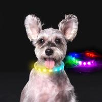 Светодиодный ошейник для собак из силикона, лампа для скачек, 14 режимов, зарядка через USB, защита от потери