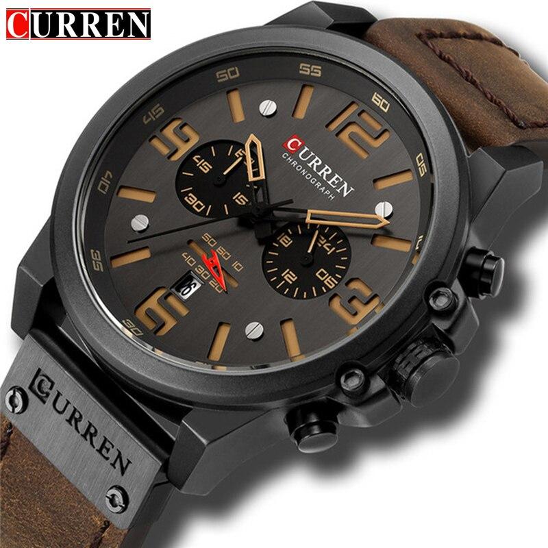 CURREN marca de lujo Superior Militar de cuero impermeable de los hombres relojes de cuarzo cronógrafo Fecha de moda Casual reloj de los hombres 8314