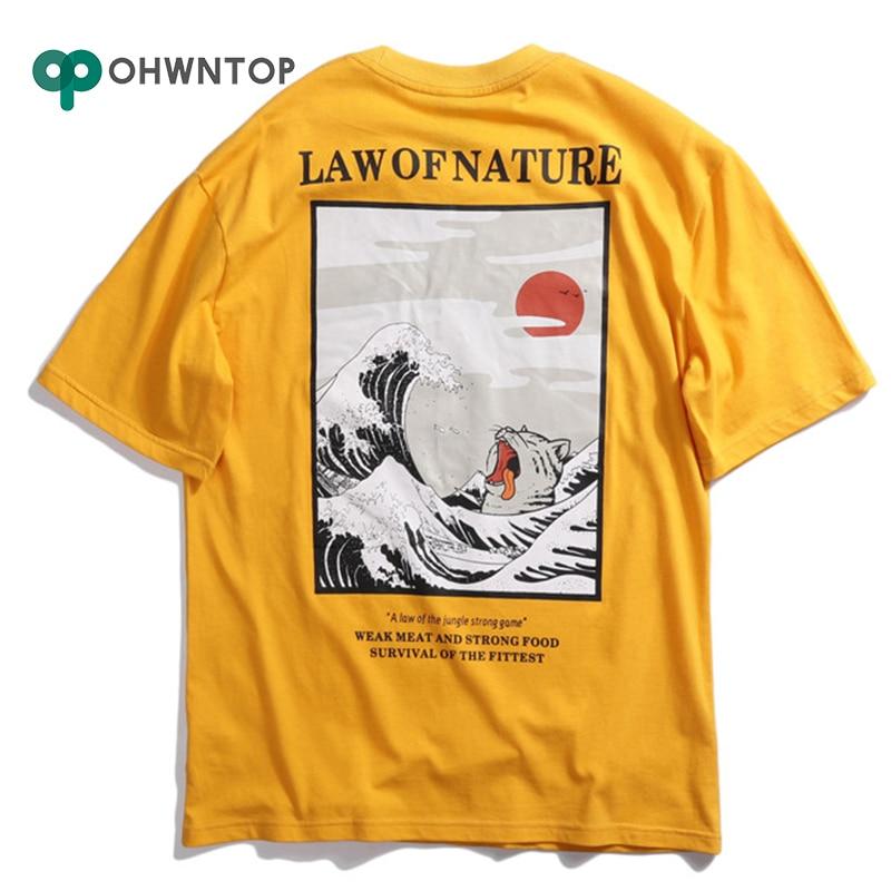 Männer T-Shirt Japanischen Ukiyo Katze Welle Gedruckt T Shirts Sommer Herren Hip Hop Casual Kurzarm Tops Tees Männliche T-shirts streetwear