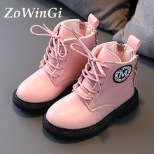 Size 21-30 Girls Boots British Style PU Leather Waterproof Snow Boots for Children Toddler Kids Boot
