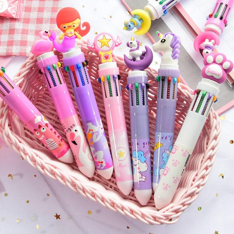 10 colores unicornio bolígrafos negro bolígrafo para la escuela Oficina suministro lindo Kawaii Gel pluma regalo papelería Papelaria
