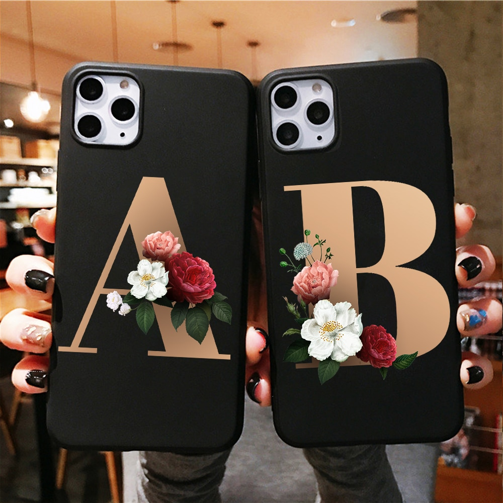 Черный чехол для телефона с буквенным принтом N R алфавитом и цветочным принтом для iPhone x 7 7s 6 6s 8 plus Xs XR Max SE, силиконовый чехол для телефона