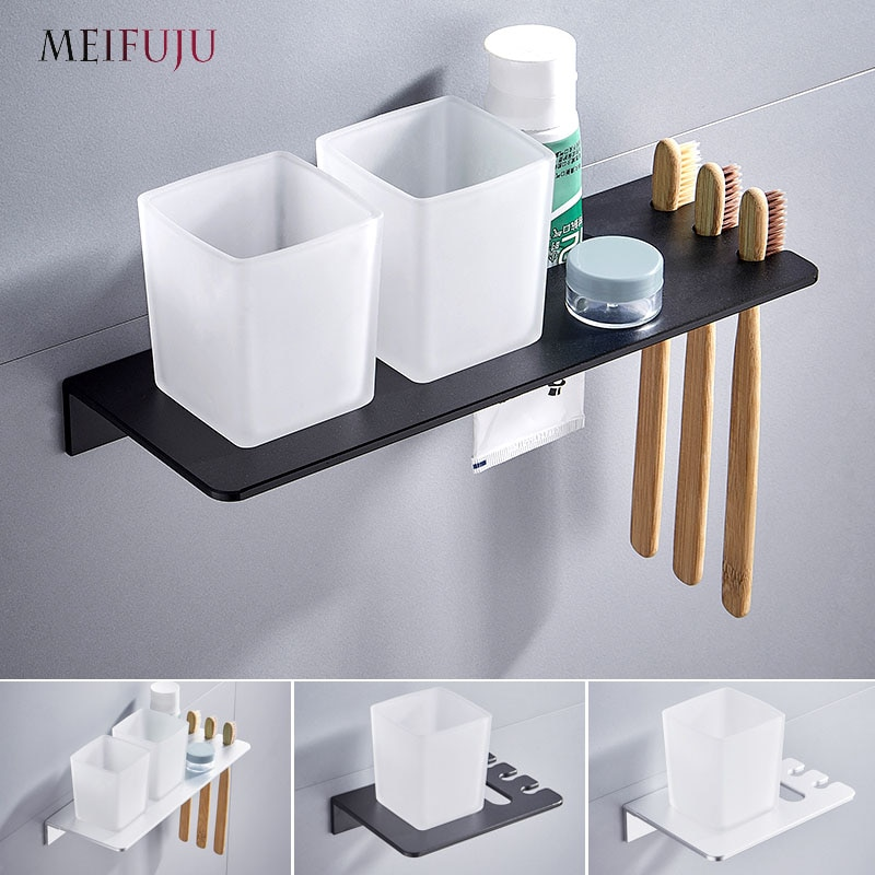 wall mounted tooth brush holder rose gold finish jade cover with double ceramic cups Silver Double toothbrush holder with Tooth Holder Aluminum Black Tumbler & cup holder wall mounted bath product Toothpaste Rack