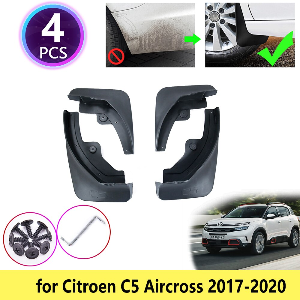 Para Citroen C5 Aircross 2017, 2018, 2019, 2020 guardabarros Mudflap guardabarros deflector Muddy Splash frente rueda trasera Accesorios