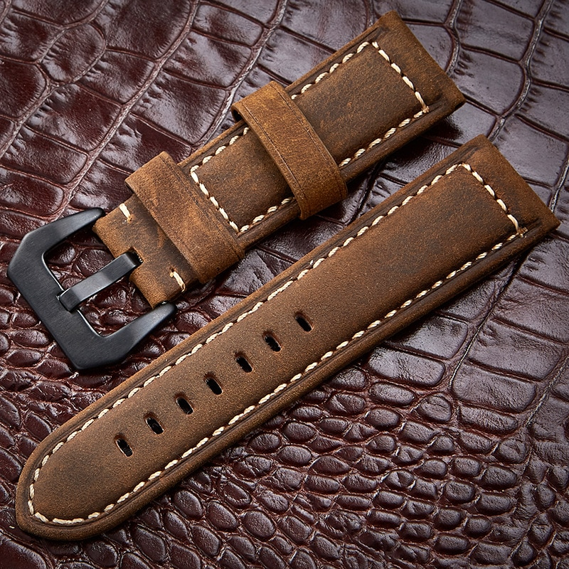 20 22 24 26mm Watch Accessories Handmade Watchband Leather Watch Strap Special design Pilot man Retr