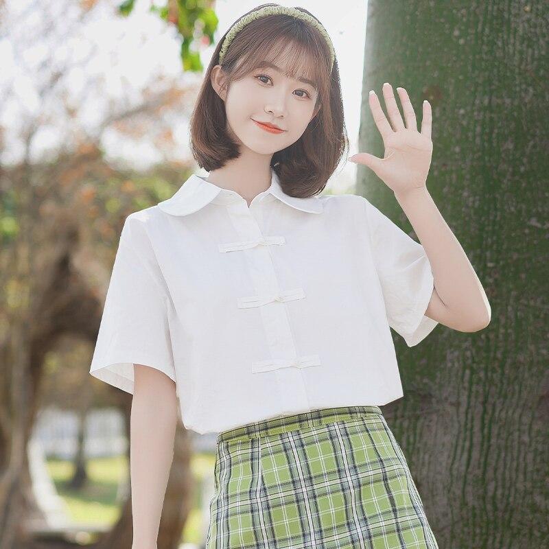Chic Khaki 2021 New White Shirt Women's Summer Design Sense Frog Loose Japanese Style Student Soft G