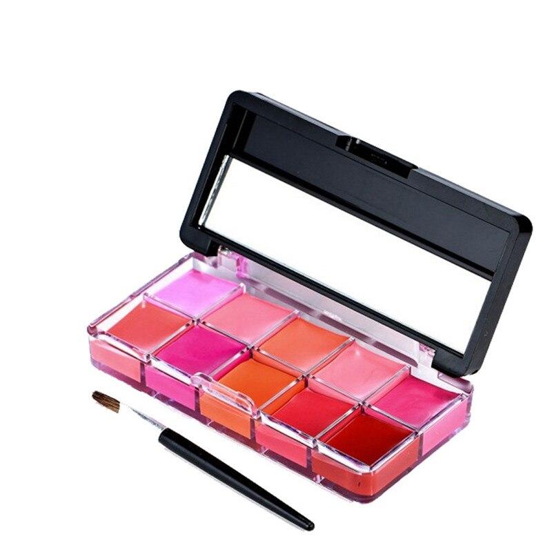10/15 paleta de pintalabios de maquillaje de gelatina de Color impermeable de larga duración humectante nutritivo bálsamo de labios Maquillaje Brillo de labios Kit de paleta
