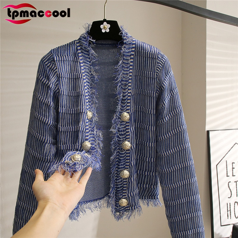 luxury designer Sweaters Cardigans Women High End Quality 2021 Early Autumn Slim Gold buttons Fringe cropped cardigan knitwear
