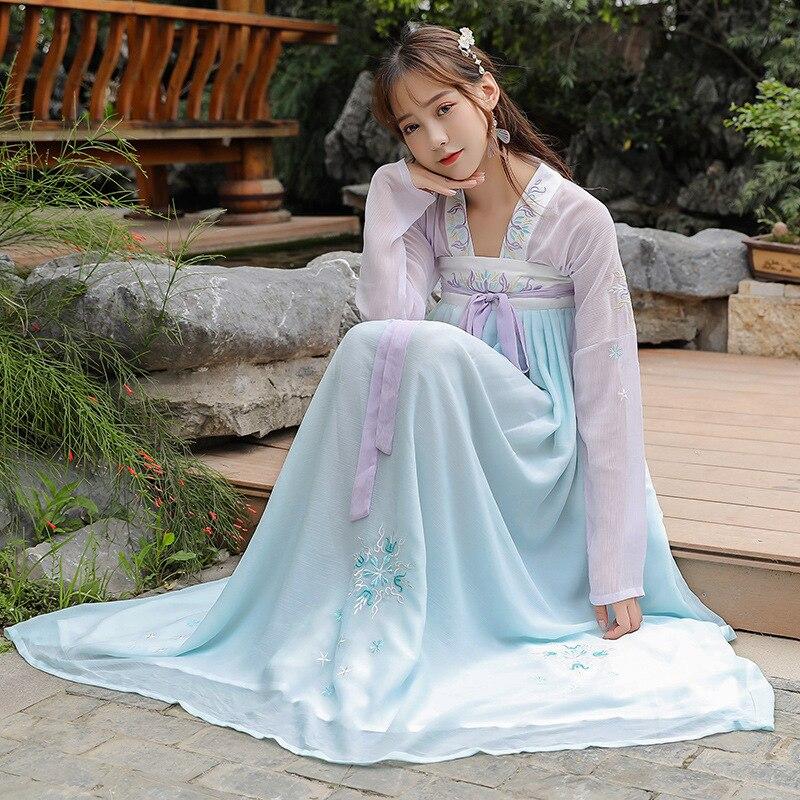 المرأة الثدي طول تنورة النمط الوطني الكلاسيكية أنيقة الطازجة كبيرة سوينغ تنورة رقص النمط الصيني دعوى الصيف
