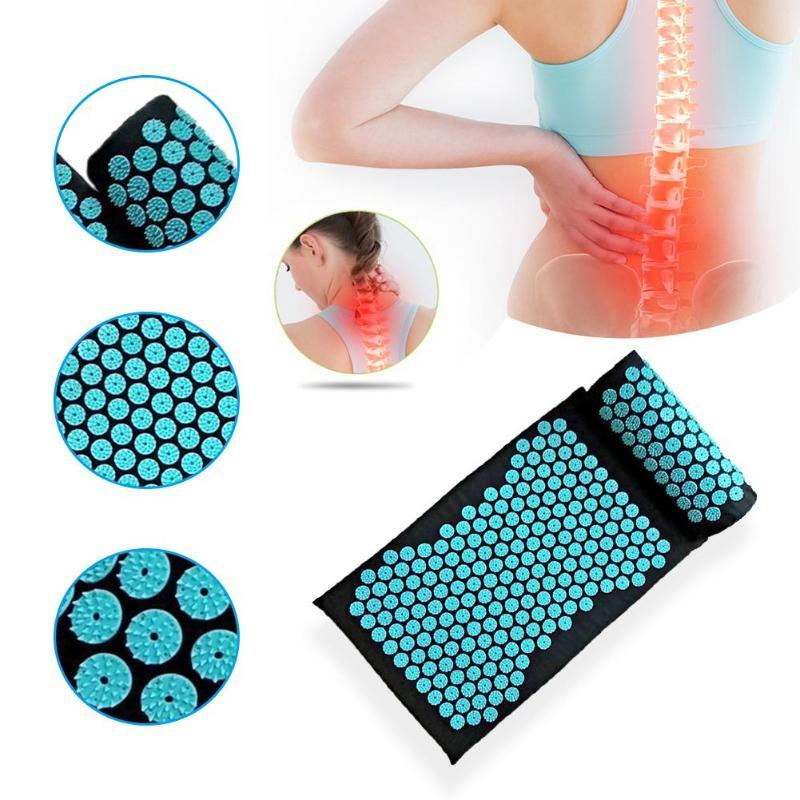 Acupuntura cojín almohada de masaje acupresión aliviar el dolor de espalda cuerpo estera de Yoga músculos estera de espiga de tensión con píldora