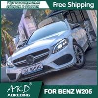 for car benz w205 headlights 2014 2018 drl day running light led bi xenon bulb fog lights car accessory c260 c300 c200 head lamp