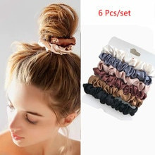 6/3 Pcs Elastic Hairbands Hair Tie Women For Hair Accessories Satin Scrunchies Stretch Ponytail Hold