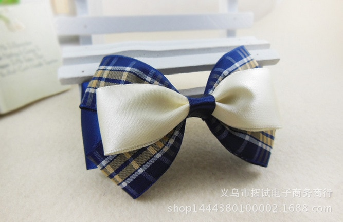 Women's Korean lace big bow hair accessories handmade lattice professional bow duckbill clip hair ring spring clip HDJ034