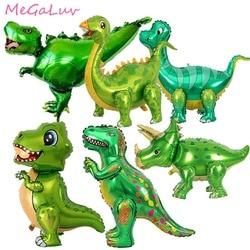 1pc verde dinossauro folha de pé balões dinossauro fontes festa de aniversário decoração balões selva animal parte suprimentos globos