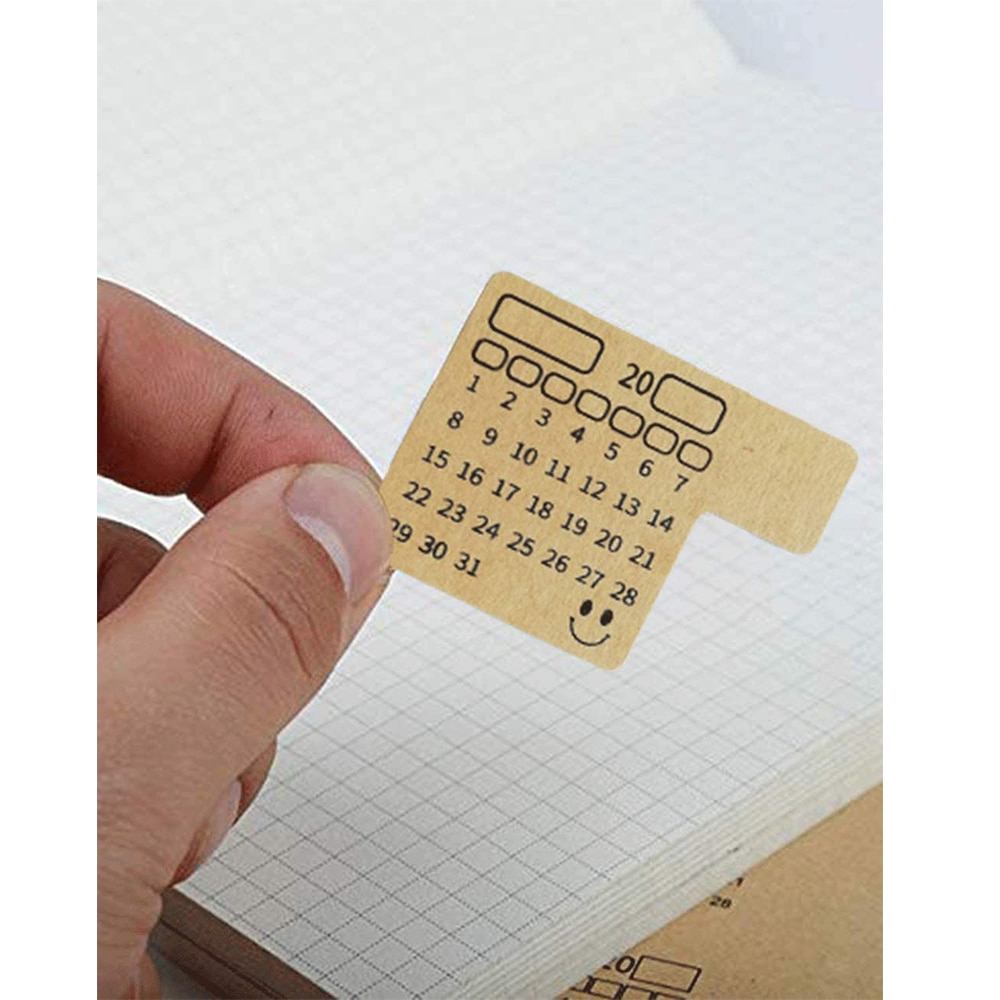 48 PCS Diary Calendar Series Scrapbooking Decorative Stickers Kraft Paper Index Label Sticker Flakes Stationary Accessories kawaii rosyposy life series cute sticker custom stickers diary stationary flakes scrapbook diy decorative stickers