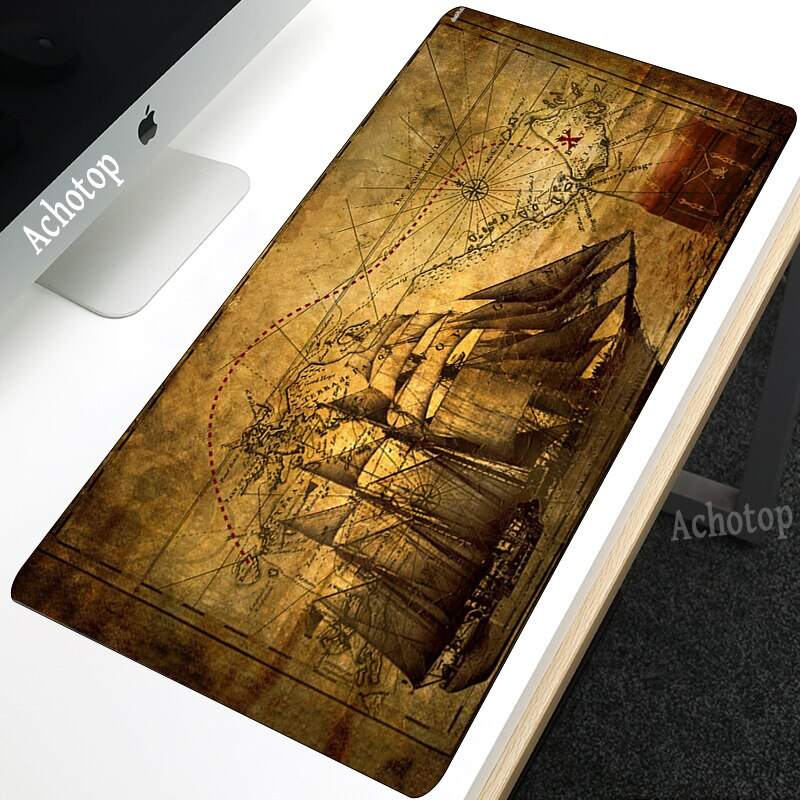 Achotop Hot Sell Extra Large Mouse Pad Old World Map Gaming Mousepad Antislip Natural Rubber with Locking Edge Gaming Mouse Mat