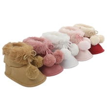 Baby Girl 0-18M Winter Warm Snow Boots Kids Soft Sole Cotton Fur Lined Pom Pom Ankle Booties Non-Sli