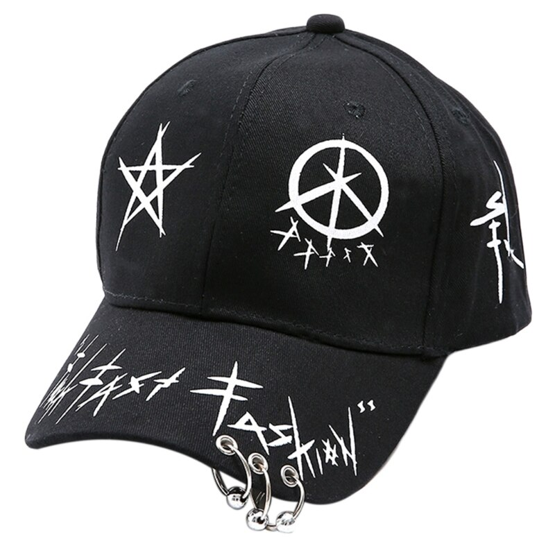 Black White Graffiti Print Baseball Cap with Rings Harajuku Hip Hop Snapback Hat R2LE  - buy with discount