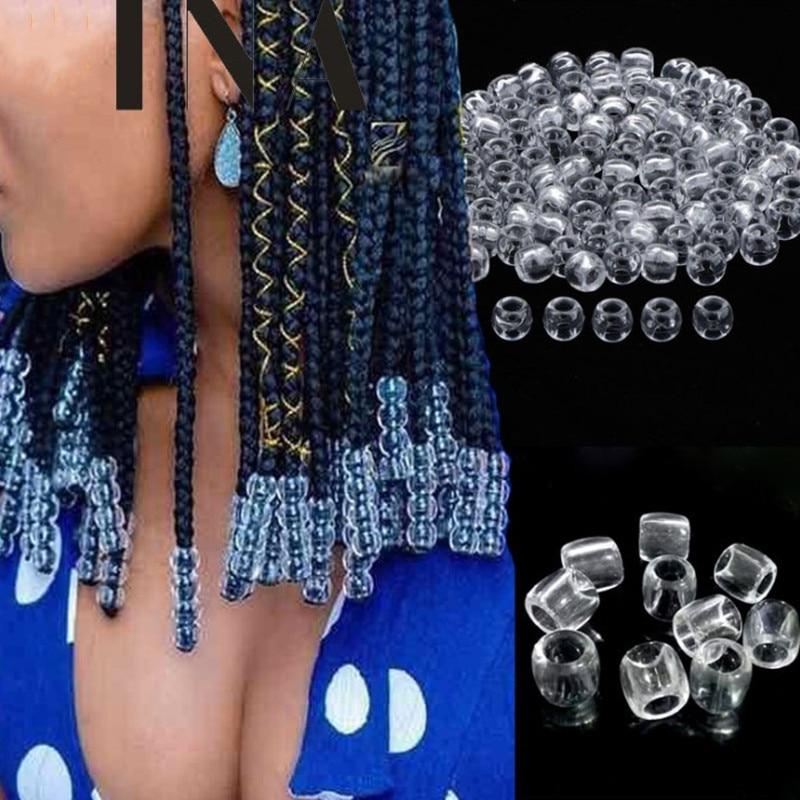 20-100pcs Colorful Hair Beads Big Hole Dreadlock Beads Acrylic Transparent Jumbo Braid Dreadlock Hair Braiding Accessories Kids