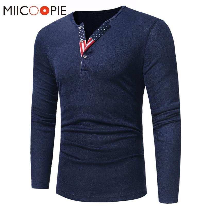 Suéter pulóver de Color sólido para hombre moda bandera americana botón cuello redondo ajustado tiro Homme otoño hombre manga larga suéter de punto
