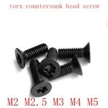 Vis à tête fraisée noire   20-50pièces/lot M2 M2.5 M3 M4 M5 en acier avec six lobe torx