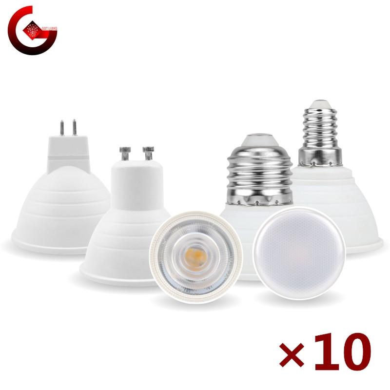 10 шт./лот MR16 GU10 E27 E14 Светодиодные лампочки 6 Вт 220 В Bombillas светодиодные лампы Точечные светильники светодиодные точечные светильники 24/120 град...