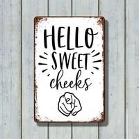 Hello Sweet joues     affiche en metal Antique  Art Mural  decoration de maison
