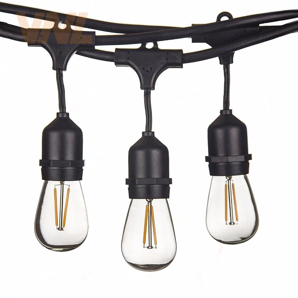 LED outdoor light, 15m, 15 bulbs, S14, E27, retro, Edison, filament, garden, courtyard, holiday, wedding, light string, IP65