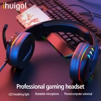 ihuigol gaming headset 3 5mm jack headphones stereo surround with microphone for mobile phone laptop noise cancelling earpieces