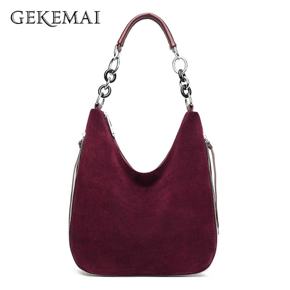 Casual Splice Women's Shoulder Bag Metal Handles Handbag Nubuck Leather Crossbody Bags Fashion All-match Ladies Messenger Bags