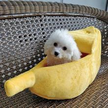 Petit lit pour animal de compagnie en forme de banane   Lit moelleux, chaud, en peluche, respirant, lit de chat banane, maison, joli, coussin doux adapté