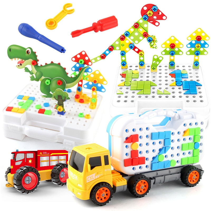 Creative Mosaic Puzzle Toys Drilling Screw 3D For Children Building Bricks Toys DIY Electric Drill Set Boys Kids Educational Toy